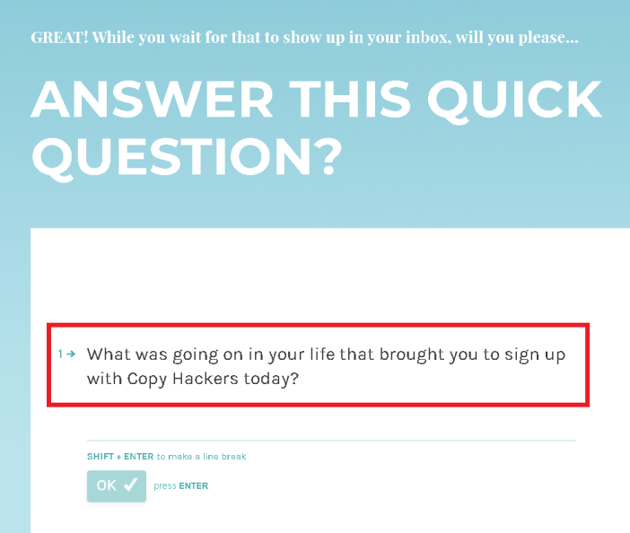 Customer Satisfaction Survey Question by CopyHackers