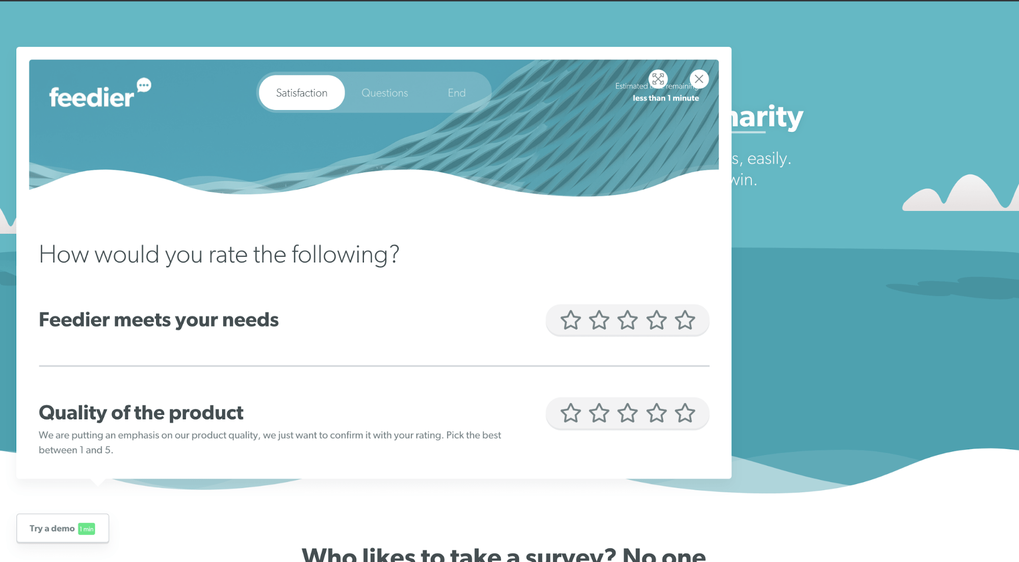 Feedback requested on the website, using Feedier's widget - for better product adoption