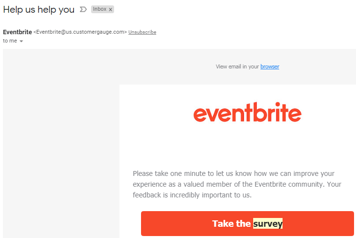 Eventbrite survey email