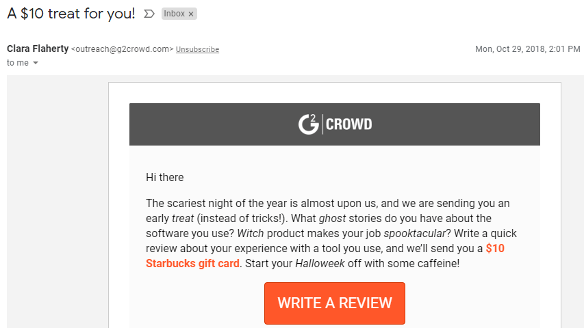 G2 Crowd Survey Incentive 3