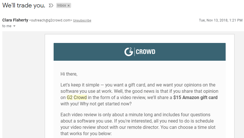 G2 Crowd Survey Incentive 2