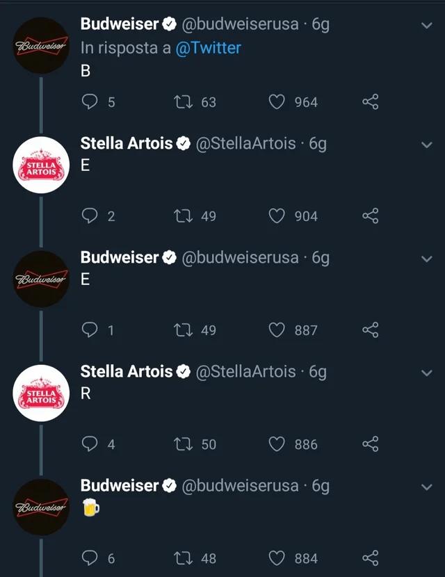 budweiser and stella artois twitter conversation
