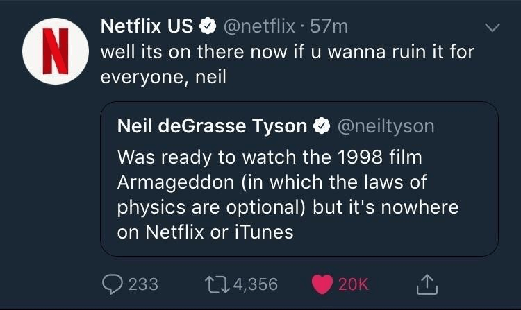 example of netflix overdoing it on twitter with neil degrasse tyson