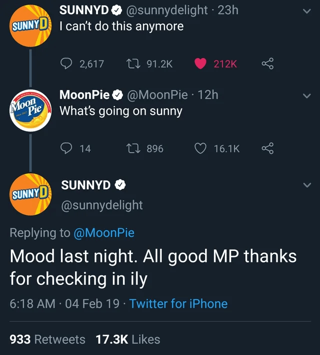 sunny d and moonpie conversation on twitter
