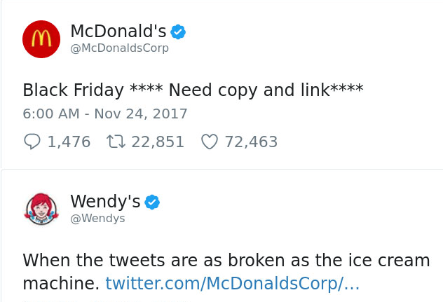 wendy's makes mcdonalds joke on twitter