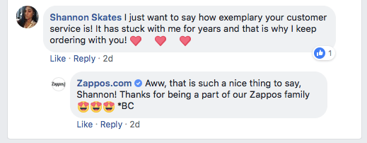 example of zappos customer care on facebook