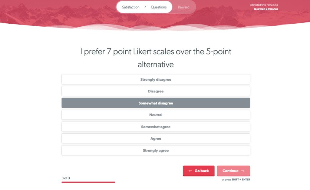 7-point Likert Scale Survey Question