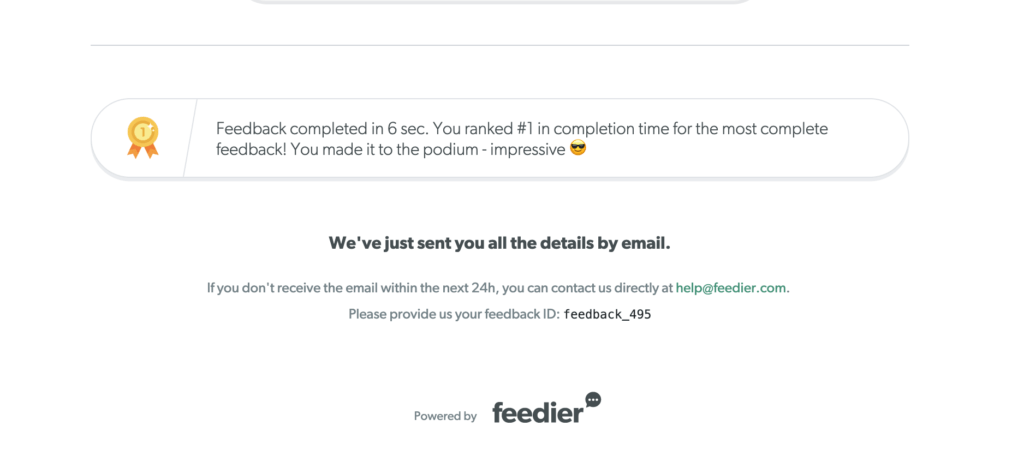 Feedback completion badge