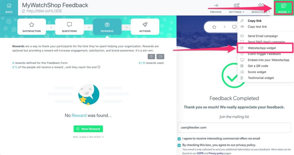 dynamic widget for feedback