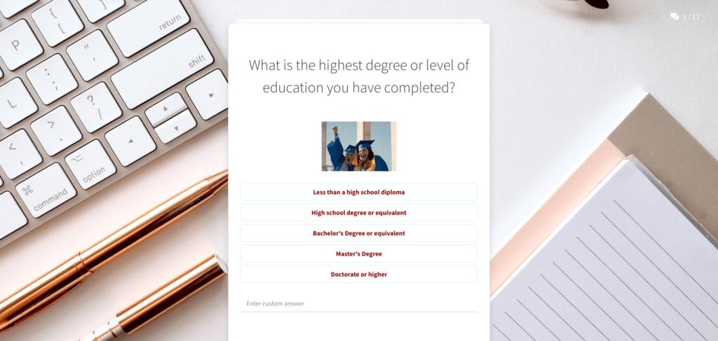 degree of education survey