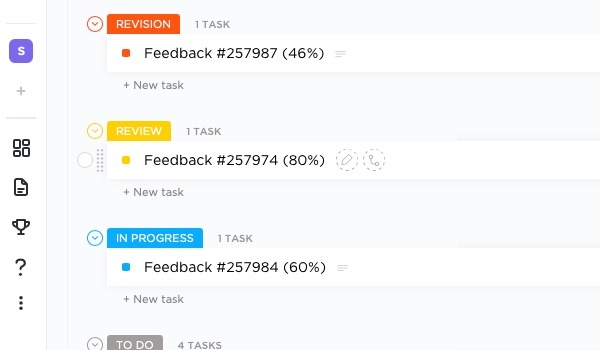 understand feedback with clickup tasks