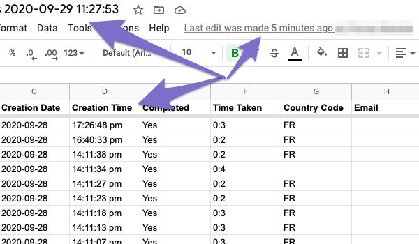 get notified in real time on google sheets for new feedback