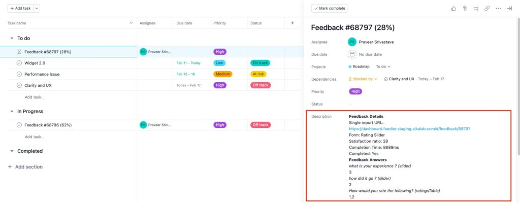 Get more details on your feedback with the asana lists