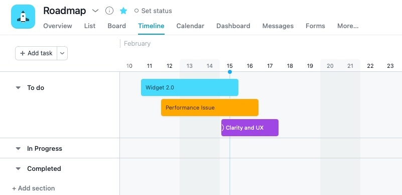 Organize your feedback with the asana timeline