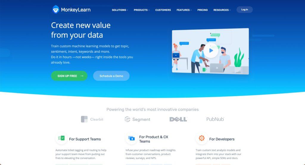 MonkeyLearn - voice of the customer platform