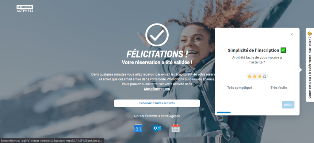 widget feedback feedier sur le site decathlon
